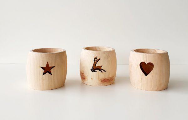Teelichthalter Herz, Hirsch oder Stern