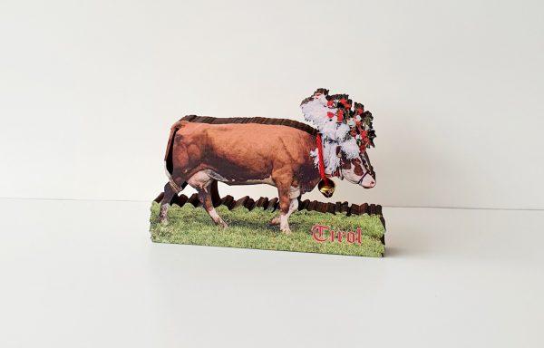 Kuh mit Farbdruck und Glocke (Zirbenholz)