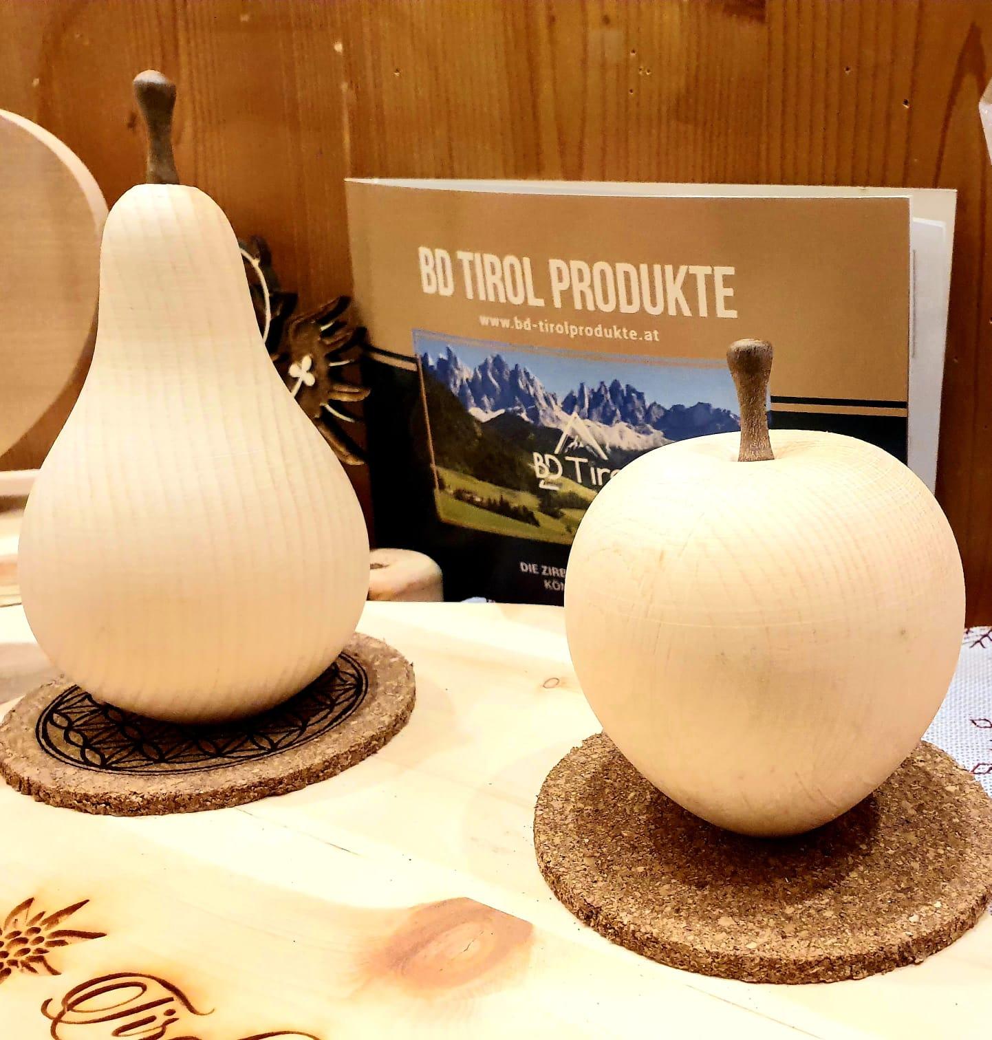apfel und birne aus zirbenholz  bd tirol produkte